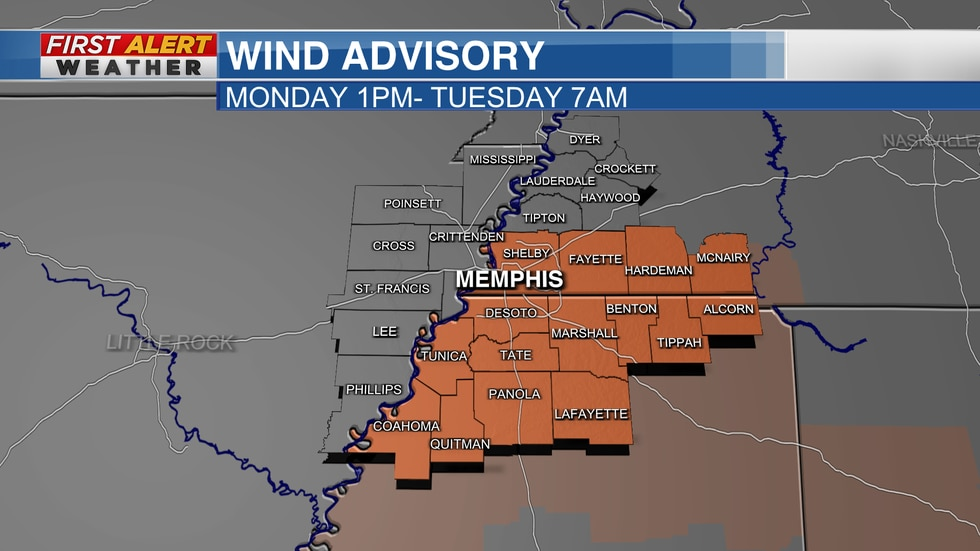 NWS Memphis has issued a wind advisory due to Ida