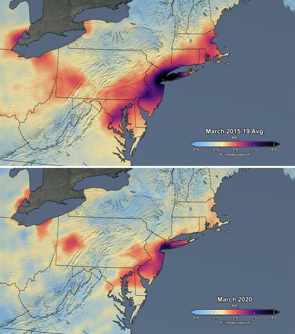 The average concentration of NO₂ over northeastern US in March of 2015-19 (top) and the average...