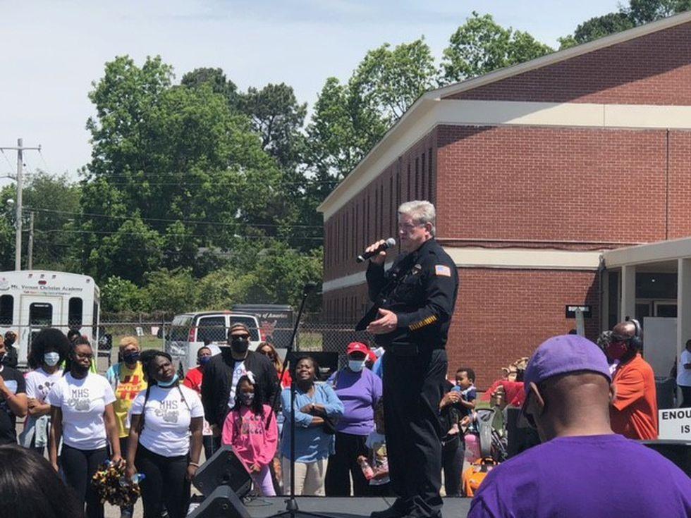Memphis Interim Police Director, Mike Ryall spoke at the Westwood community walk against gun...