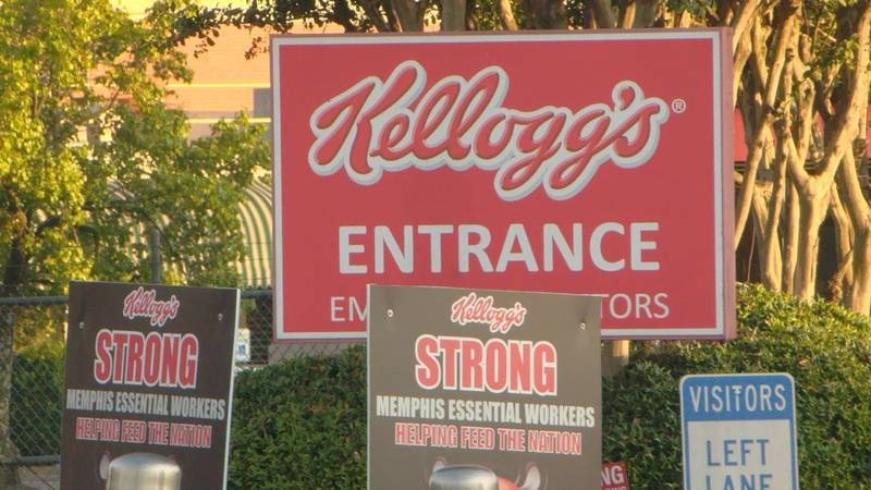 The entrance to the Kellogg's cereal plant in Memphis, TN.