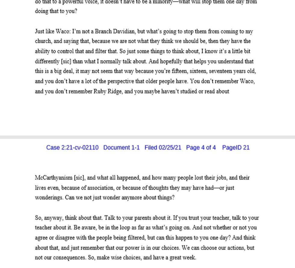 Barton Thorne, Principal, Cordova High School Transcript of Remarks to Cordova High School...