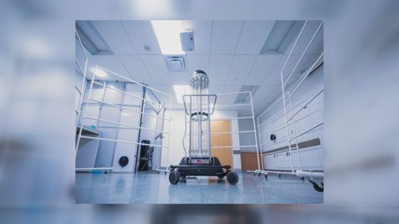 A TRU-D ultraviolet disinfecting machine that UVA Health is using to sanitize masks for re-use...