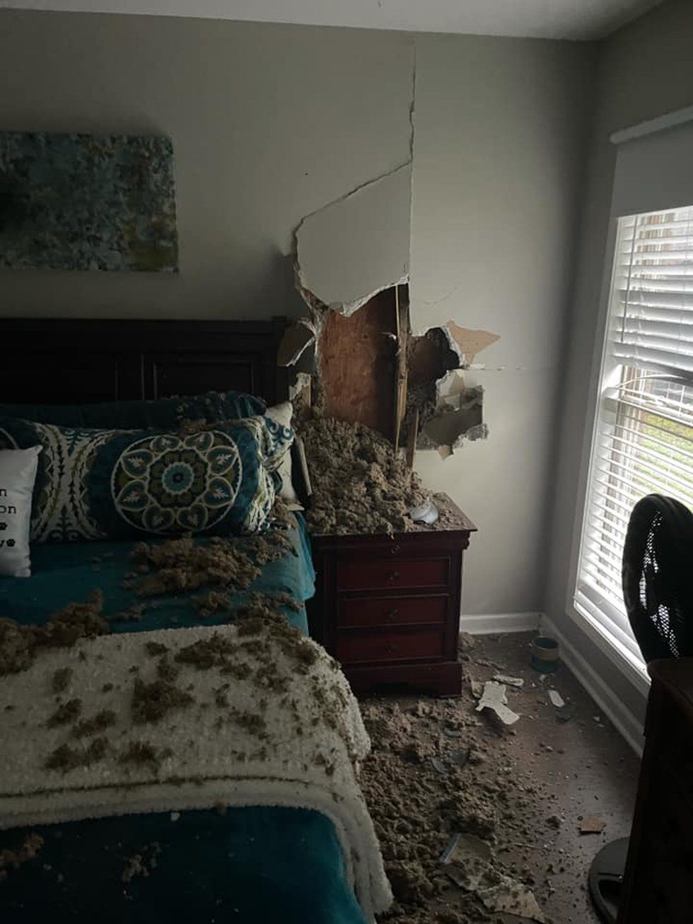 Damage from a lightning strike to a Wynne, Arkansas home March 17, 2021.