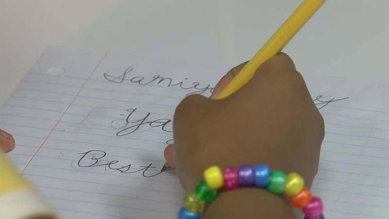 The goal is for students to write legibly in cursive by the end of fifth grade.